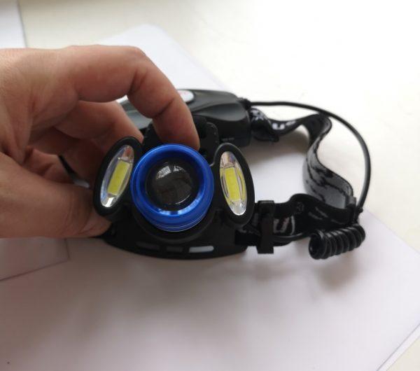Налобный фонарь LED с аккумулятором на затылке и режимом стробоскопа