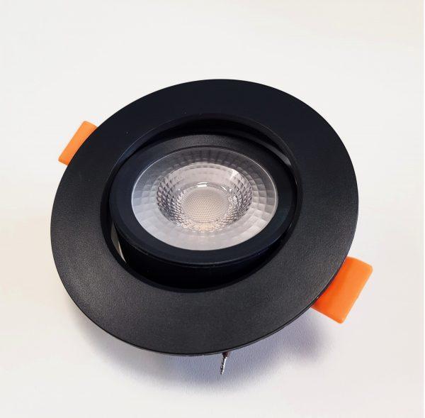 Cветильник светодиодный встраиваемый поворотный направленного света, круг, 5W, 4000K, IP40, черный