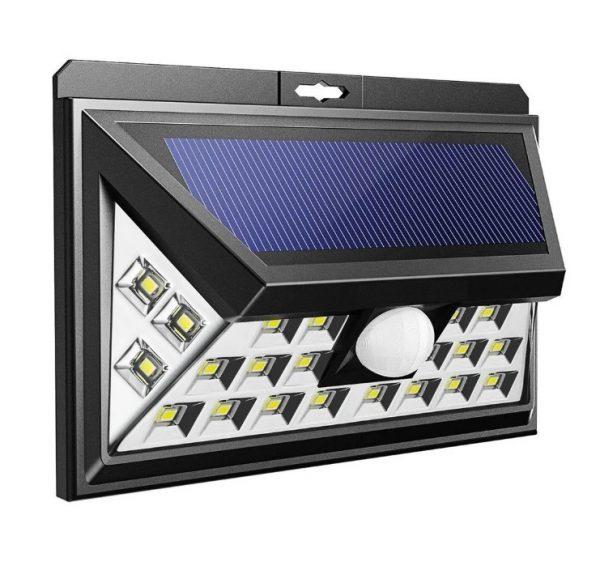 Настенный светильник на солнечной батарее с датчиком движения, 24 LED, черный (SBF-63-MS)