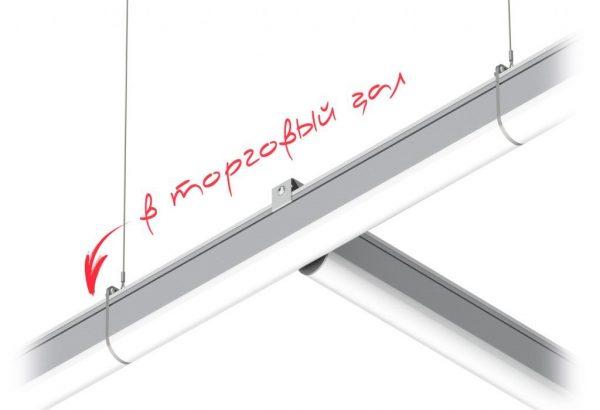 Угловое крепление светодиодных светильников линейных высокомощных