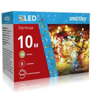 LED Гирлянда Smartbuy с контроллером, RGB, 10м, 160 диодов, IP44, прозрачный провод (SB-RGBIP44-10m)
