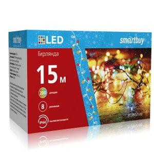 LED Гирлянда Smartbuy с контроллером, RGB, 15м, 200 диодов, IP44, прозрачный провод (SB-RGBIP44-15m)