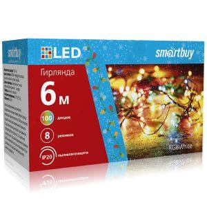 LED Гирлянда Smartbuy с контроллером, RGB, 6м, 100 диодов, IP44, прозрачный провод (SB-RGBIP44-6m)