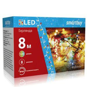 LED Гирлянда Smartbuy с контроллером, RGB, 8м, 120 диодов, IP44, прозрачный провод