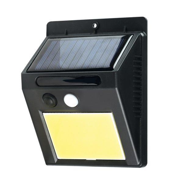 Настенный светильник, на солнечных батареях, с датчиком движения, COB, 3 Вт, черный (SBF-32-MS)