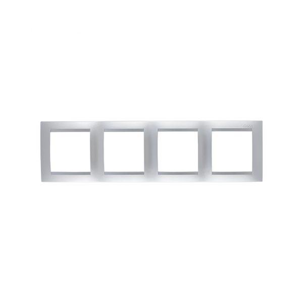 Рамка универсальная, 4 поста, алюминий Simon 1500640-033 1
