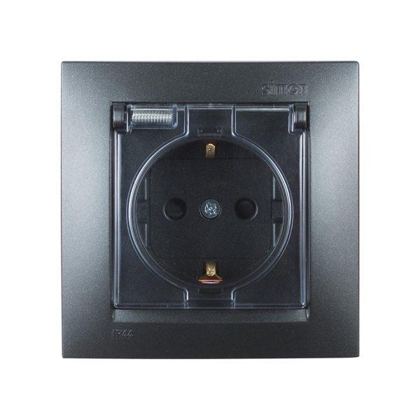 Розетка с заземлением Schuko со шторками, с крышкой, IP44, 16А 250В, винтовой зажим, графит Simon 1590450-038 1