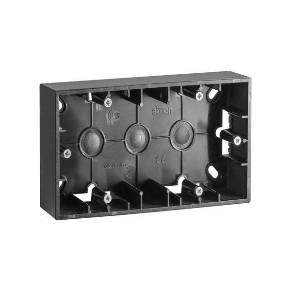 Монтажная коробка для накладного монтажа, 2 поста, графит Simon 1590752-038 1