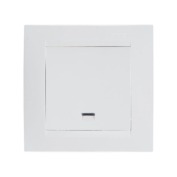 Выключатель одноклавишный с подсветкой, 16А 250В, винтовой зажим, белый Simon 1591104-030 1