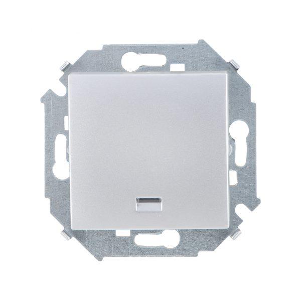 Выключатель одноклавишный с подсветкой, 16А 250В, винтовой зажим, алюминий Simon 1591104-033 1