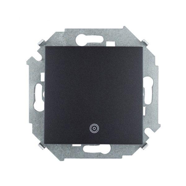 Выключатель одноклавишный кнопочный с пиктограммой, 16А 250В, винтовой зажим, графит Simon 1591150-038 1