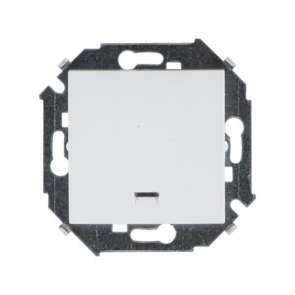 Выключатель одноклавишный кнопочный с подсветкой, 16А 250В, винтовой зажим, белый Simon 1591160-030 1