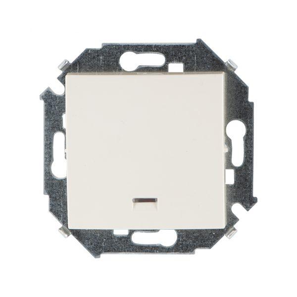 Выключатель одноклавишный кнопочный с подсветкой, 16А 250В, винтовой зажим, слоновая кость Simon 1591160-031 1