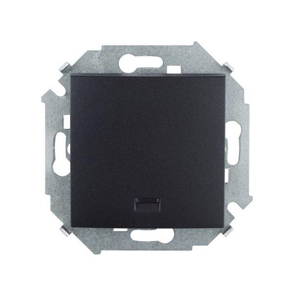 Выключатель одноклавишный кнопочный с подсветкой, 16А 250В, винтовой зажим, графит Simon 1591160-038 1