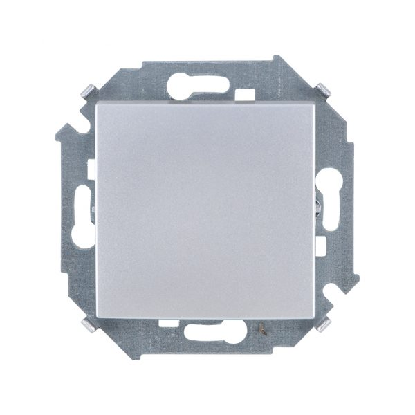 Выключатель одноклавишный проходной с 3-х мест (перекрёстный), 16А 250В, винтовой зажим, алюминий Simon 1591251-033 1