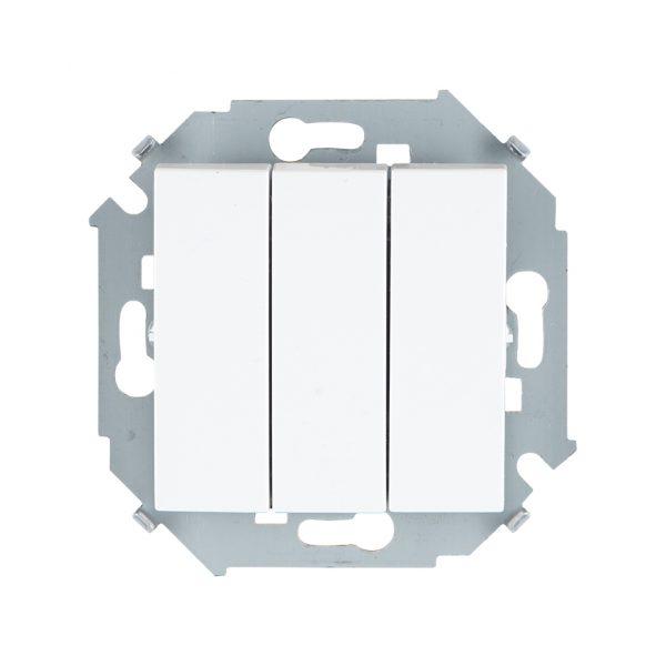 Выключатель трехклавишный, 10А 250В, винтовой зажим, белый Simon 1591391-030 1