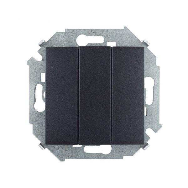 Выключатель трехклавишный, 10А 250В, винтовой зажим, графит Simon 1591391-038 1