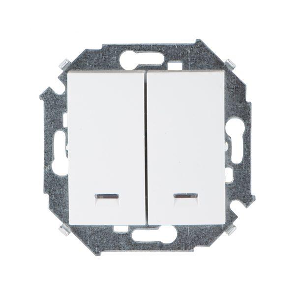Выключатель двухклавишный с подсветкой, 16А 250В, винтовой зажим, белый Simon 1591392-030 1