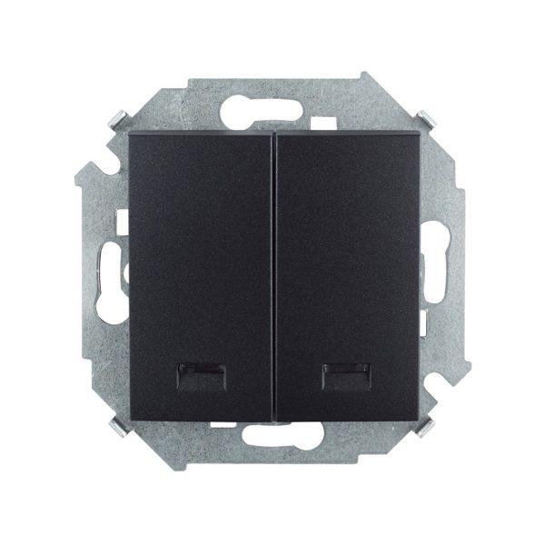 Выключатель двухклавишный с подсветкой, 16А 250В, винтовой зажим, графит Simon 1591392-038 1