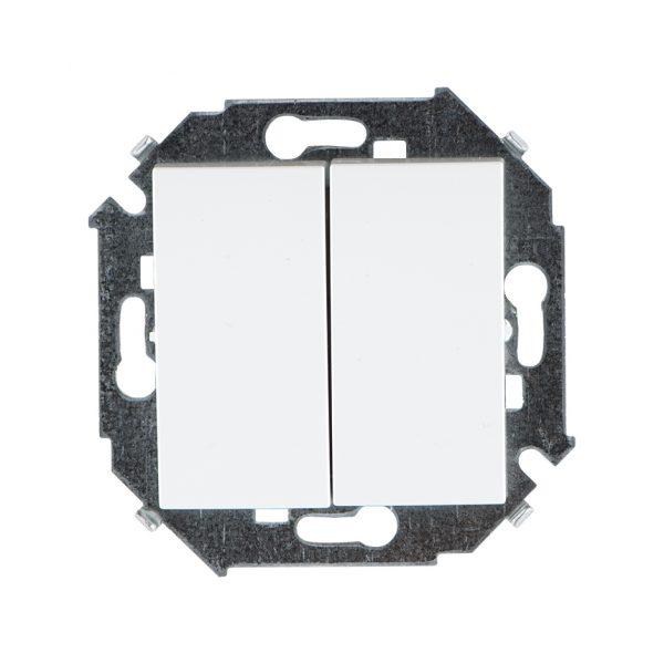 Выключатель двухклавишный проходной, 16А 250В, винтовой зажим, белый Simon 1591397-030 1