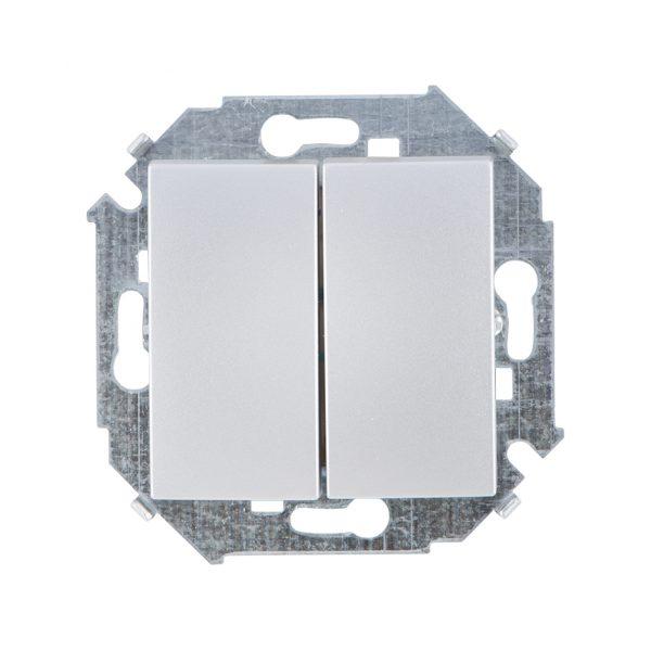 Выключатель двухклавишный проходной, 16А 250В, винтовой зажим, алюминий Simon 1591397-033 1