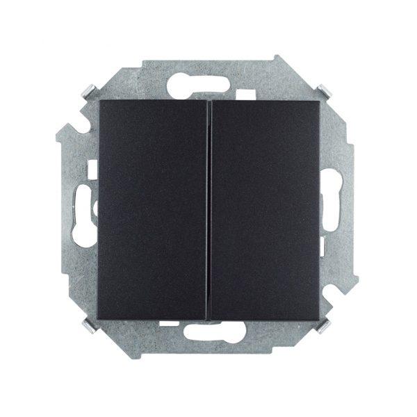Выключатель двухклавишный проходной, 16А 250В, винтовой зажим, графит Simon 1591397-038 1