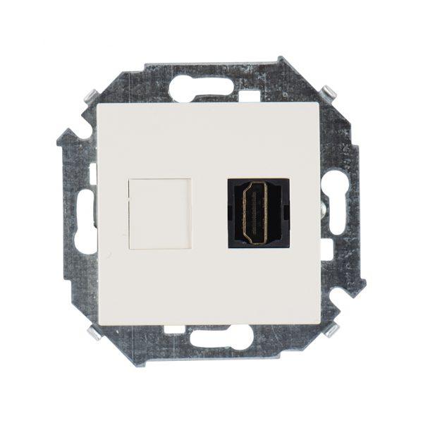 Розетка HDMI, слоновая кость Simon 1591407-031 1