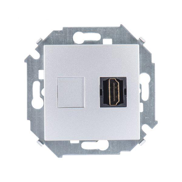 Розетка HDMI, алюминий Simon 1591407-033 1