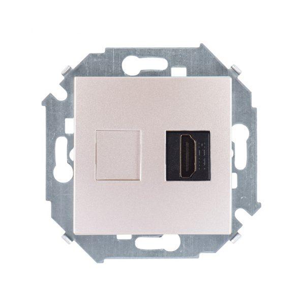 Розетка HDMI, шампань Simon 1591407-034 1