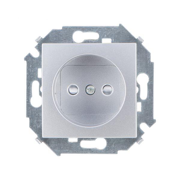 Розетка без заземления со шторками, 16А 250В, винтовой зажим, алюминий Simon 1591444-033 1