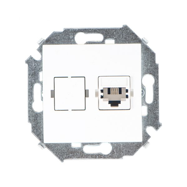 Розетка телефонная RJ11, винтовой зажим, белый Simon 1591480-030 1