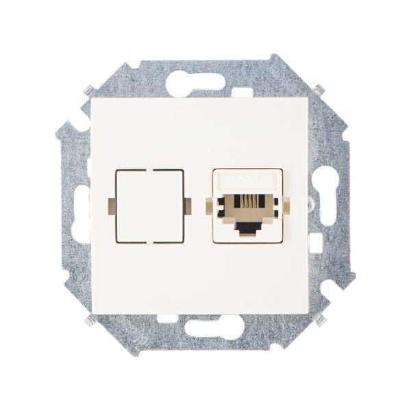 Розетка телефонная RJ11, винтовой зажим, слоновая кость Simon 1591480-031 1