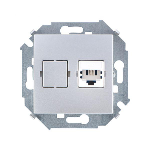 Розетка телефонная RJ11, винтовой зажим, алюминий Simon 1591480-033 1