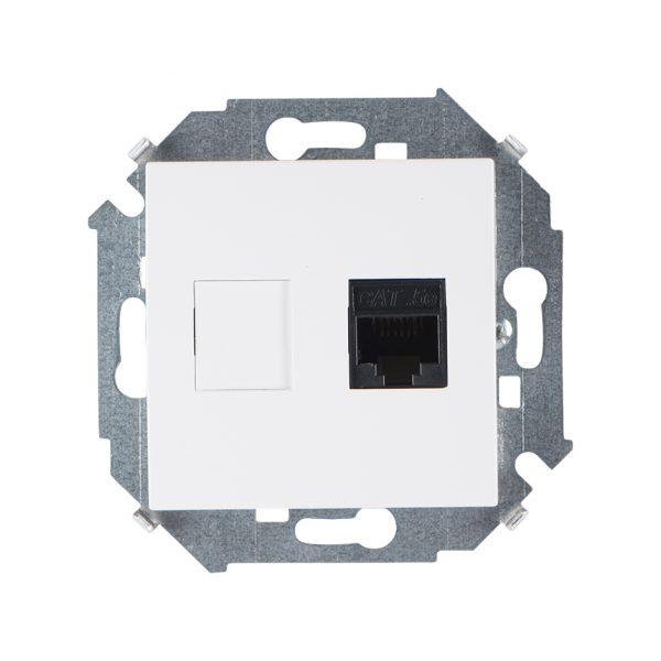 Розетка компьютерная  RJ45 кат.5e (AMP), белый Simon 1591551-030 1