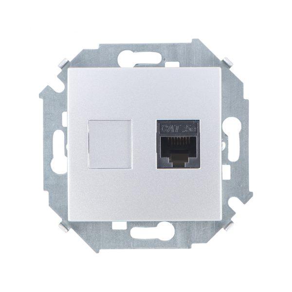 Розетка компьютерная RJ45 кат.5e (AMP), алюминий Simon 1591551-033 1