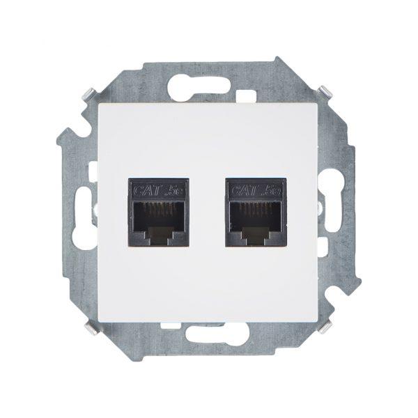Розетка компьютерная двойная RJ45 кат.5e (AMP), белый Simon 1591552-030 1