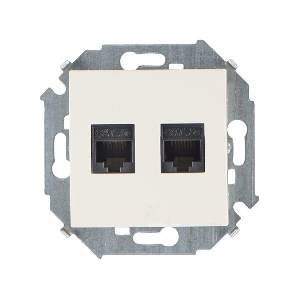 Розетка компьютерная двойная RJ45 кат.5e (AMP), слоновая кость Simon 1591552-031 1