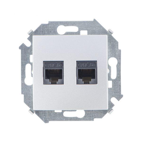 Розетка компьютерная двойная RJ45 кат.5e (AMP), алюминий Simon 1591552-033 1