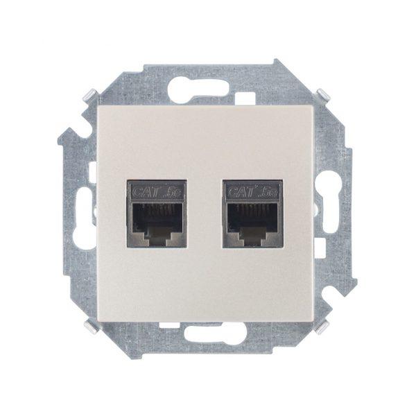 Розетка компьютерная двойная RJ45 кат.5e (AMP), шампань Simon 1591552-034 1
