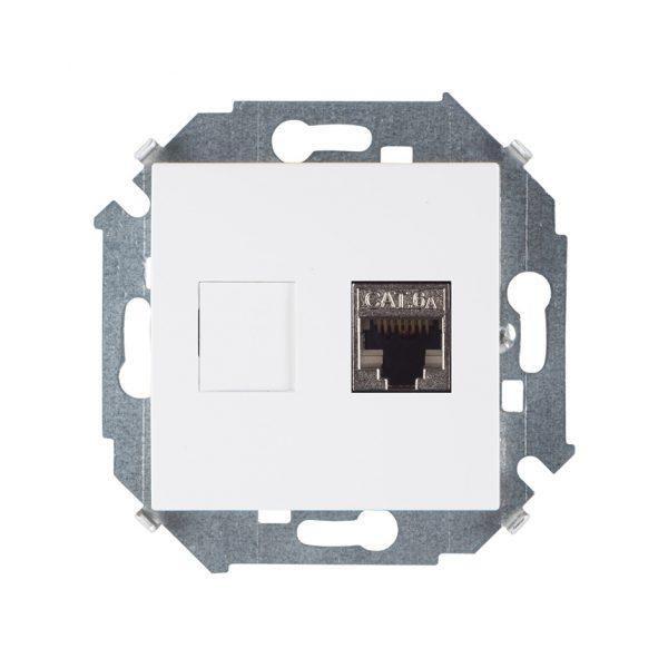 Розетка компьютерная RJ45 кат.6а (АМР, FTP), белый Simon 1591563-030 1