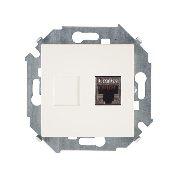 Розетка компьютерная RJ45 кат.6а (АМР, FTP), слоновая кость Simon 1591563-031 1
