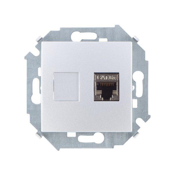 Розетка компьютерная RJ45 кат.6а (АМР, FTP), алюминий Simon 1591563-033 1