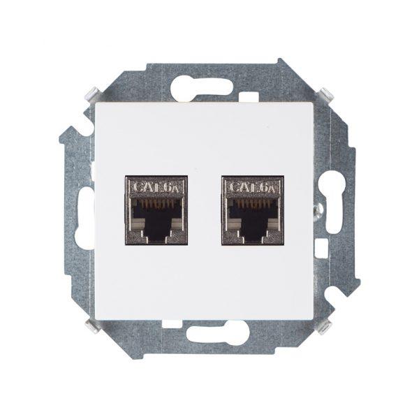 Розетка компьютерная двойная RJ45 кат.6а (АМР, FTP), белый Simon 1591564-030 1