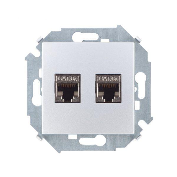 Розетка компьютерная двойная RJ45 кат.6а (АМР, FTP), алюминий Simon 1591564-033 1