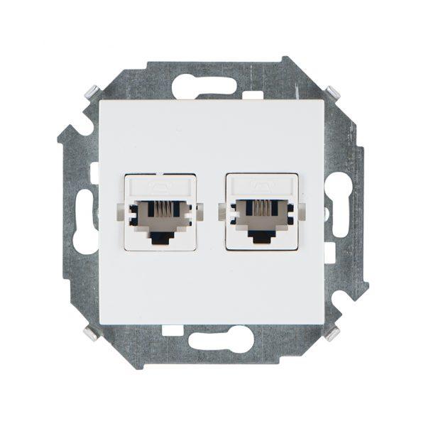 Розетка телефонная двойная RJ11, винтовой зажим, белый Simon 1591589-030 1