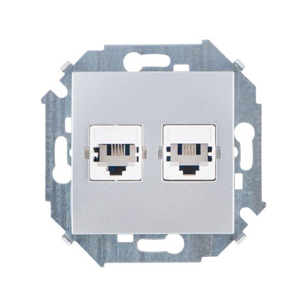 Розетка телефонная двойная RJ11, винтовой зажим, алюминий Simon 1591589-033 1