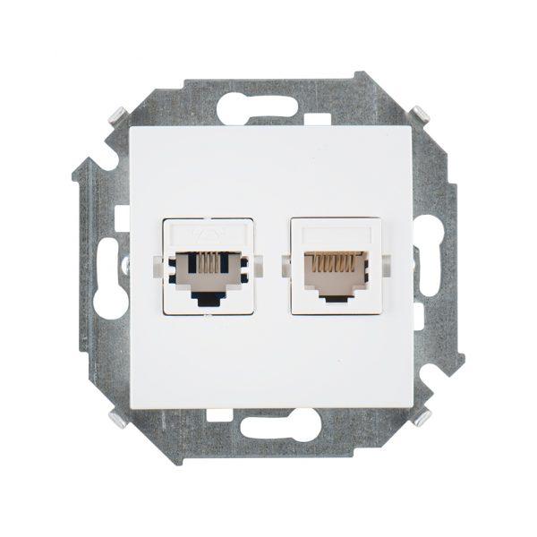 Розетка телефонная + компьютерная RJ11+RJ45 кат.5е, Systimax, белый Simon 1591590-030 1