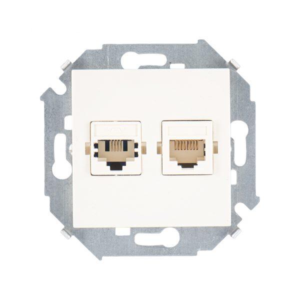 Розетка телефонная + компьютерная RJ11+RJ45 кат.5е, Systimax, слоновая кость Simon 1591590-031 1