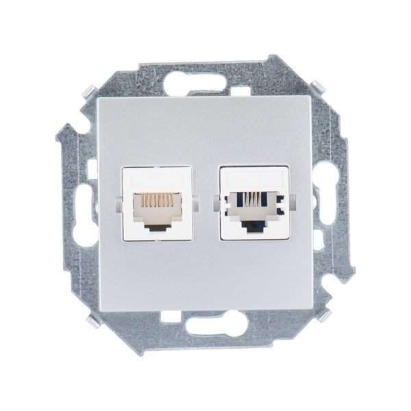 Розетка телефонная + компьютерная RJ11+RJ45 кат.5е, Systimax, алюминий Simon 1591590-033 1
