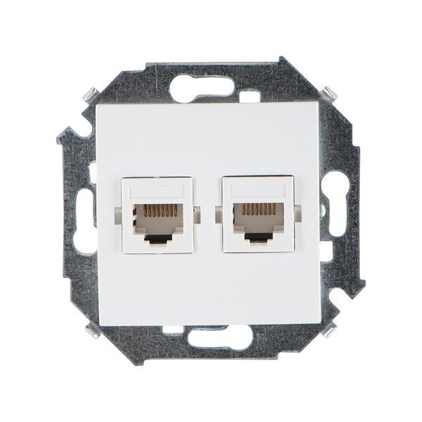 Розетка компьютерная двойная RJ45 кат.5е, Systimax, белый Simon 1591593-030 1